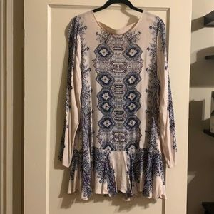 Free People Floral Tunic Mini Dress Backless